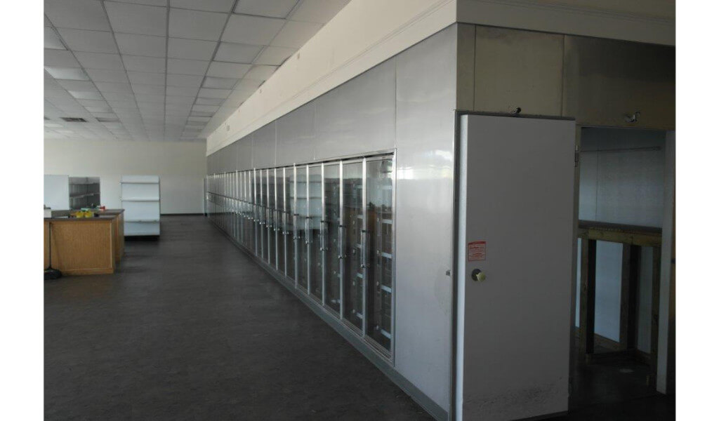 Used glass door display walk in coolers and beer caves for 10 door walk in cooler